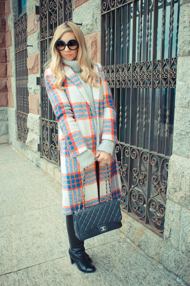 zara checked coat, zara plaid coat